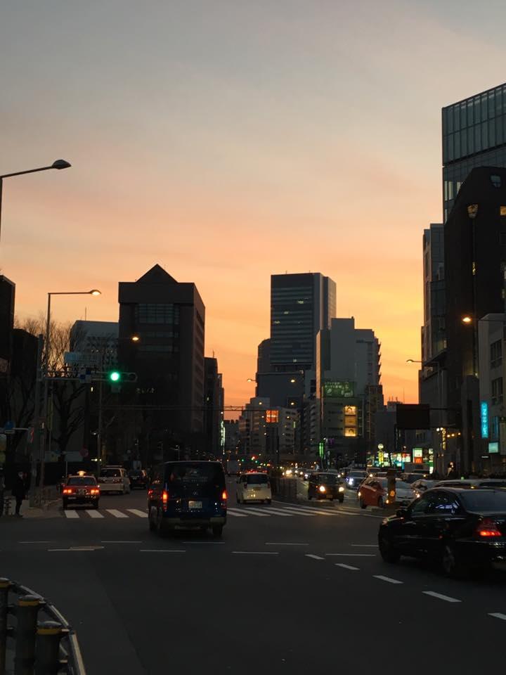 青山のキレイな夕焼け
